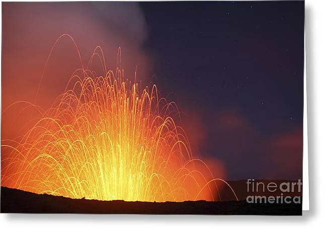 Strombolian Eruption On Starlit Night Greeting Card
