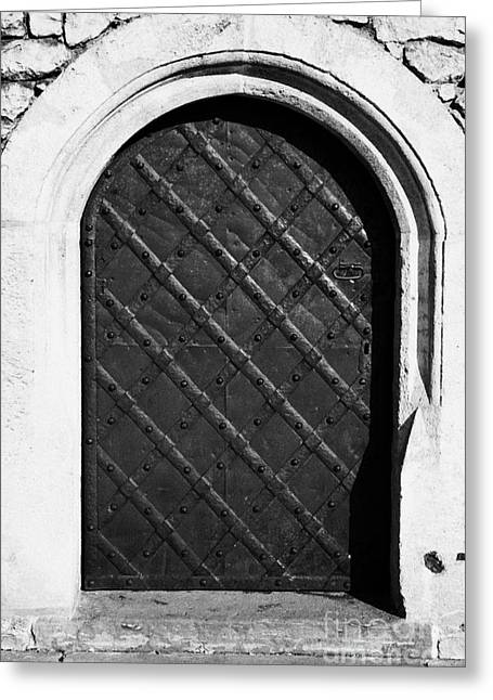 Strong Metal Covered And Braced Fortified Door For Strength In Wawel Castle Krakow Greeting Card by Joe Fox