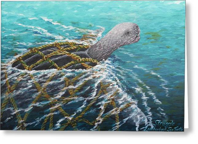 Struggle -leatherback Sea Turtle Greeting Card