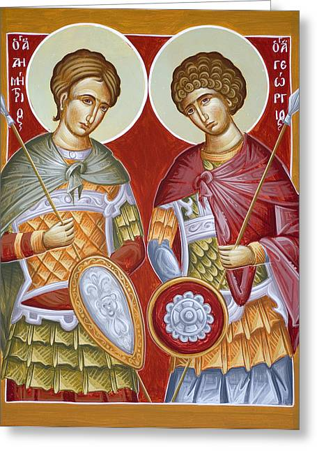 Sts Dimitrios And George Greeting Card