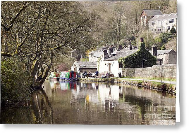 Stubbing Wharf On The Rochdale Canal Greeting Card by John Gaffen