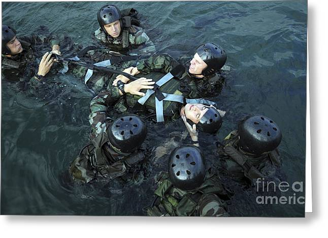 Students Secure A Simulated Casualty Greeting Card by Stocktrek Images
