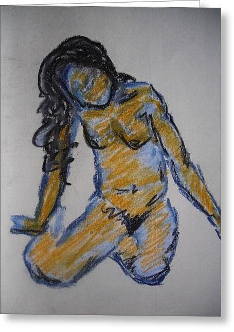 Study In Blue Greeting Card by Halle Miroglotta