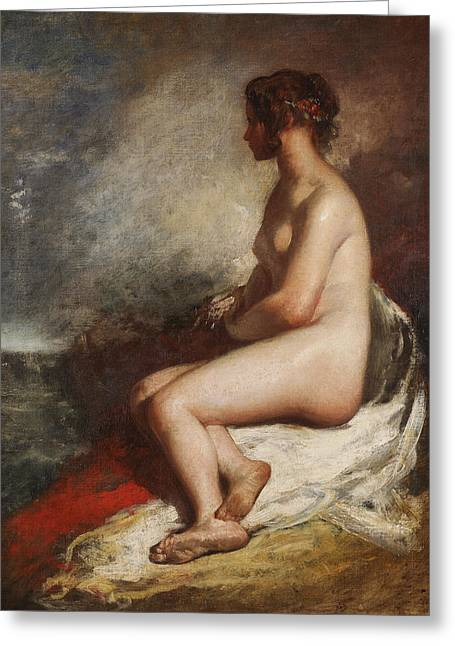 Study Of A Seated Nude Greeting Card by William Etty