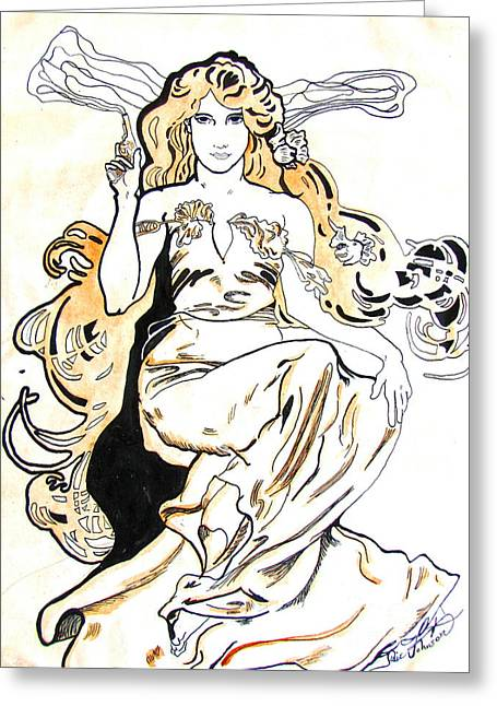 Study Of Art Nouveau After Mucha Greeting Card by Julie Coughlin