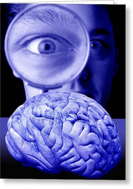 Studying The Brain, Conceptual Image Greeting Card by Victor De Schwanberg