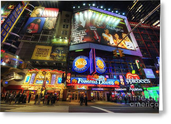 Stunning Lights Of 42nd Street  Greeting Card by Yhun Suarez