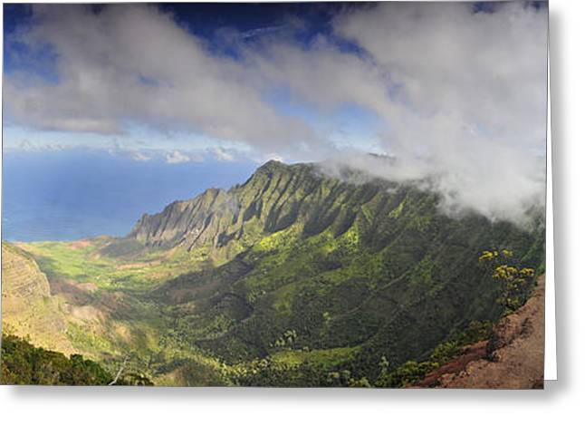 Stunning Panorama Of The Napali Coast In Kauaii Greeting Card by Sebastien Coursol