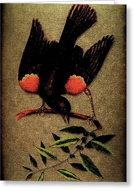 Sturnus Niger Alis Supernis Rubro Colore Greeting Card by Li   van Saathoff