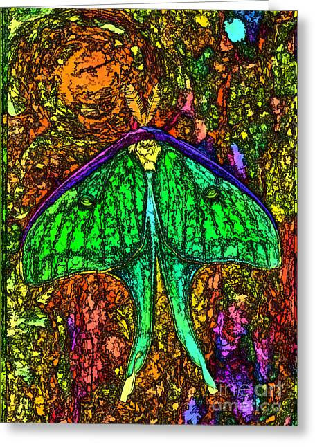 Stylized Luna Moth Greeting Card by Clare VanderVeen