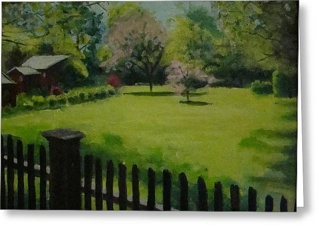 Sue's Yard Greeting Card by Mark Haley