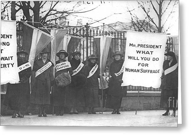 Suffragettes Picket The White House Greeting Card by Padre Art