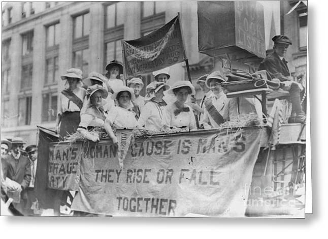 Suffragettes Riding A Float Greeting Card by Padre Art