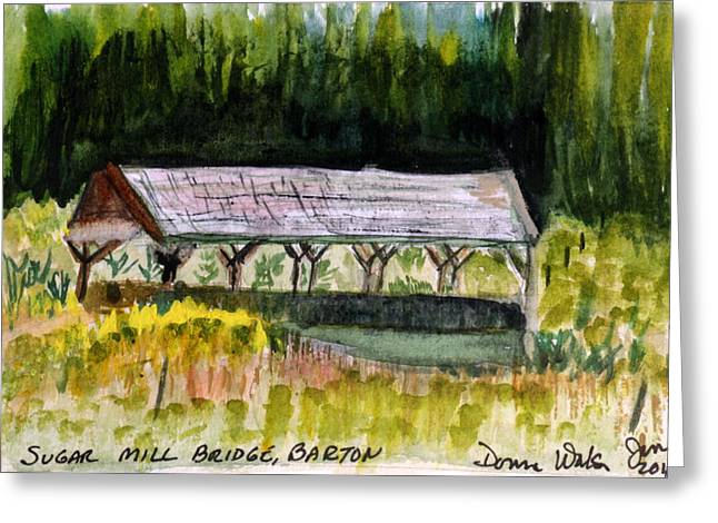 Sugar Mill Covered Bridge In Barton Vt Greeting Card by Donna Walsh