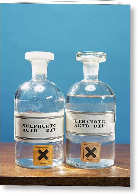 Sulphuric And Ethanoic Acid Greeting Card by Andrew Lambert Photography