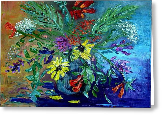 Greeting Card featuring the painting Summer Bouquet by Carol Berning