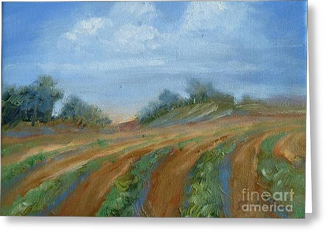 Greeting Card featuring the painting Summer Fields by Sally Simon