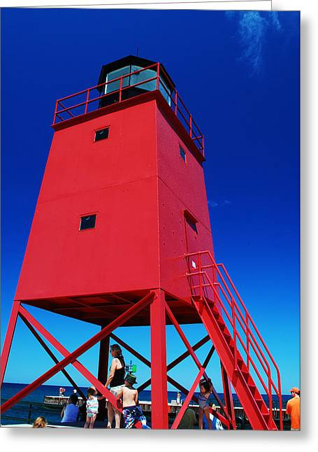 Greeting Card featuring the photograph Summer Fun Down By The Lighthouse by Janice Adomeit