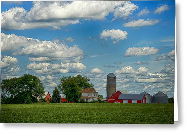 Summer Iowa Farm Greeting Card by Bill Tiepelman