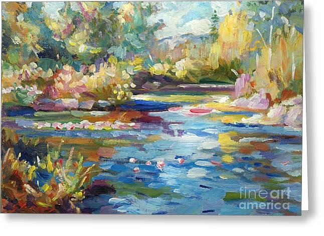 Summer Pond Greeting Card by David Lloyd Glover