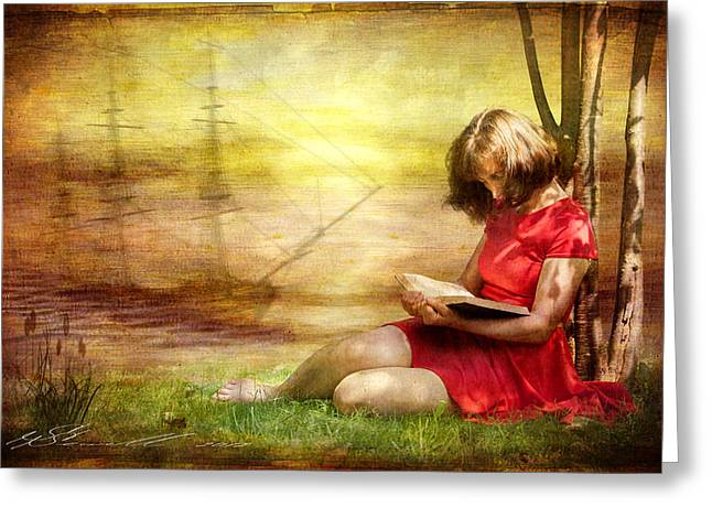 Summer Reading Greeting Card by Svetlana Sewell
