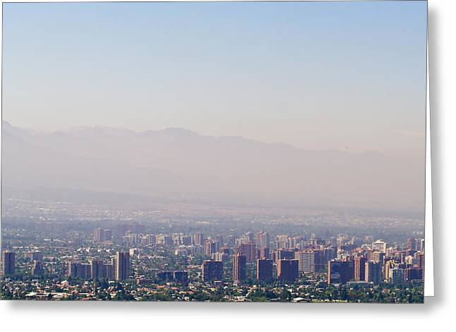 Summer Smog And Pollution In Santiagos Greeting Card