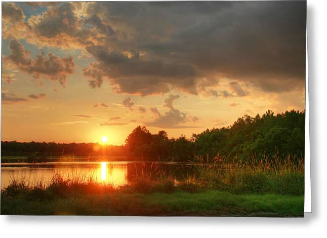 Summer Sunset On Empire Greeting Card by Mary Hershberger