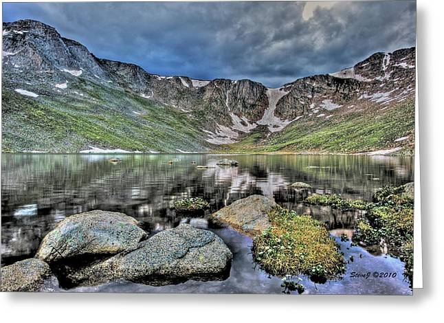 Greeting Card featuring the photograph Summit Lake Tundra And Granite by Stephen  Johnson
