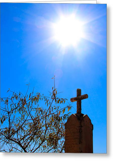 Sun And Headstone Chinese Camp Ca Greeting Card by Troy Montemayor