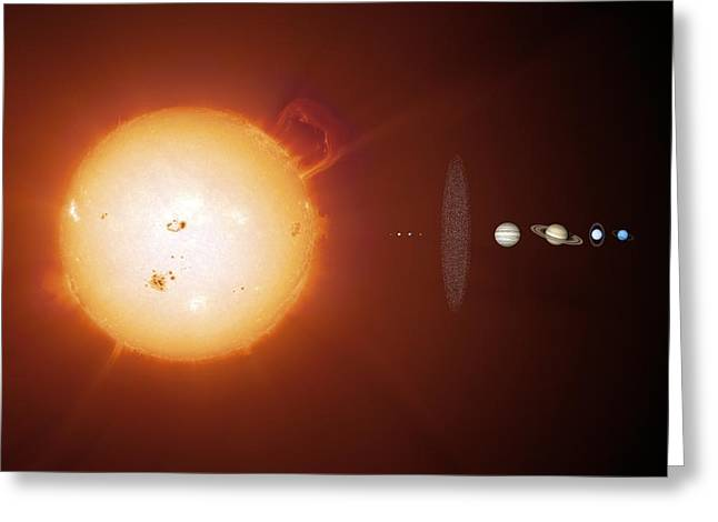 Sun And Planets, Size Comparison Greeting Card by Detlev Van Ravenswaay