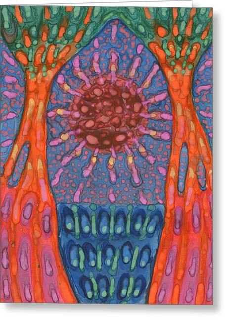 Sun And Trees Greeting Card by Wojtek Kowalski