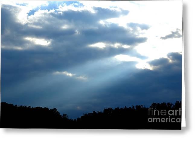 Sun Breaks Through Stormy Sky Greeting Card by Thomas R Fletcher