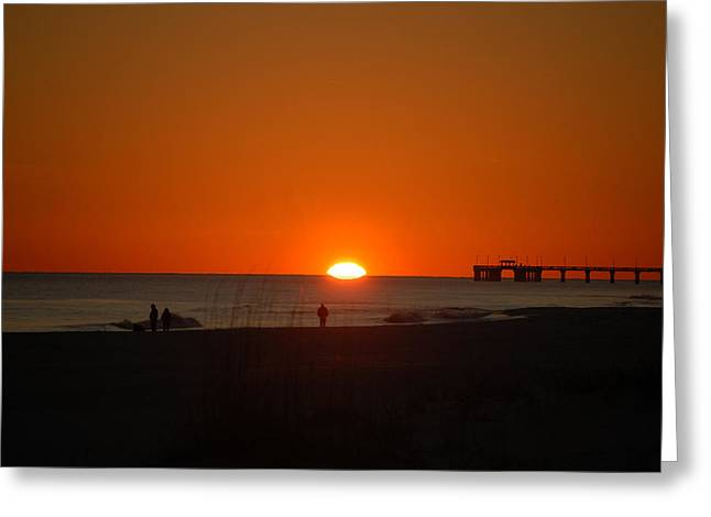 Sun On The Water Greeting Card by Michael Thomas