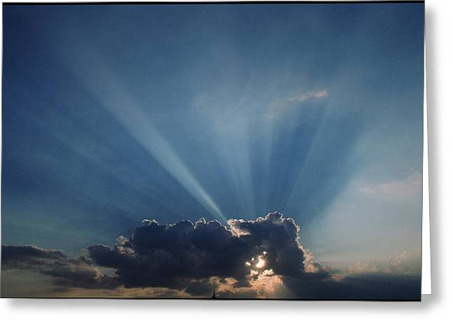 Sun Rays And Cumulus Cloud Greeting Card by Pekka Parviainen