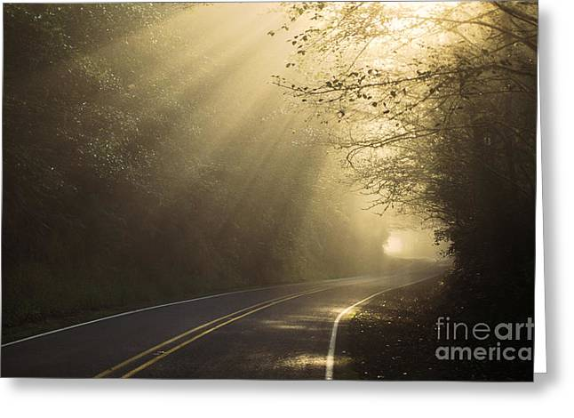 Sun Rays On Road Greeting Card by Ron Sanford and Photo Researchers