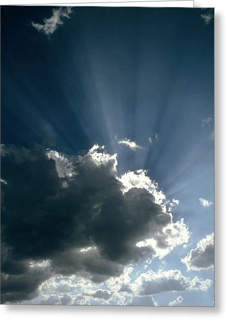 Sun Rays Shining From Behind A Cloud Greeting Card by Tony Craddock