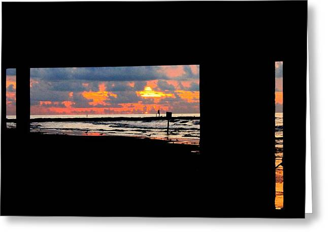 Sun Rise From Under The Pier Greeting Card by Mark Longtin