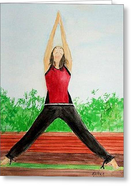 Greeting Card featuring the painting Sun Salutation by Alethea McKee