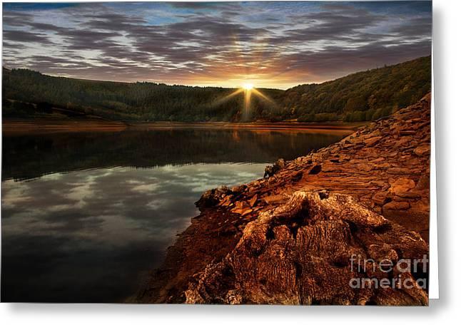 Sun Set Water Greeting Card by Nigel Hatton