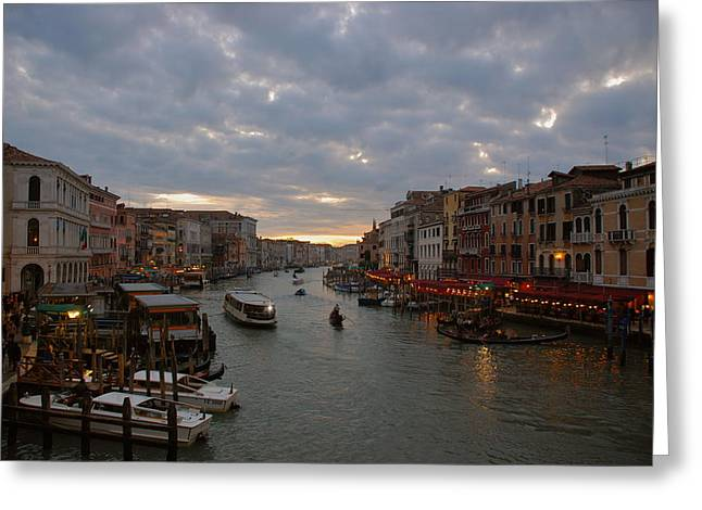 Sun Sets Over Venice Greeting Card by Eric Tressler