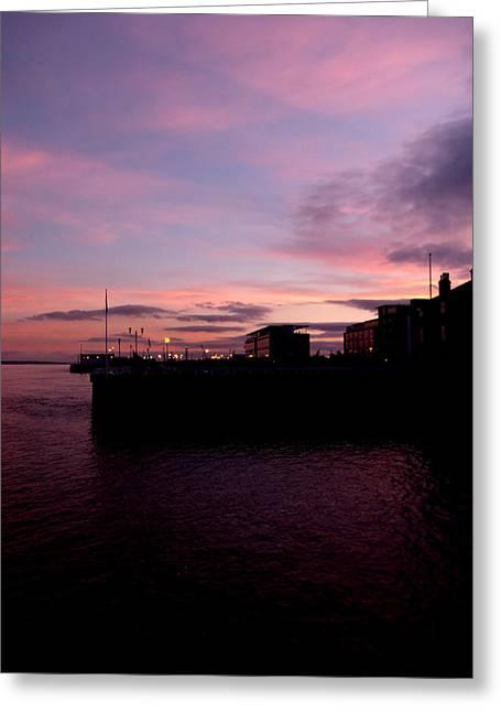 Sun Setting On Hull Marina Greeting Card