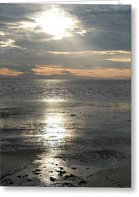 Sun Setting Over Spurn Point Greeting Card
