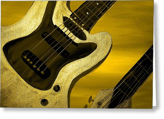 Sun Stained Yellow Electric Guitar Greeting Card by Mark Moore