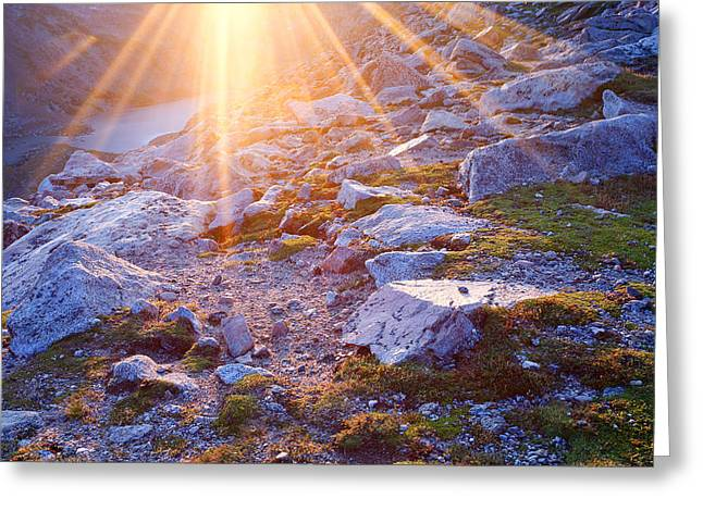 Greeting Card featuring the photograph Sunburst Over Abyss Lake by Jim Garrison