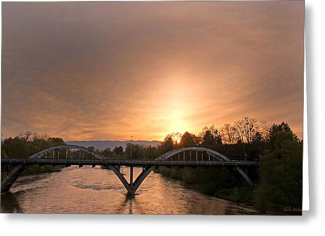 Sunburst Sunset Over Caveman Bridge Greeting Card