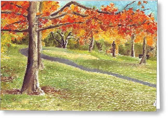 Fall Grass Drawings Greeting Cards - Sunday in the Park Greeting Card by Iris M Gross