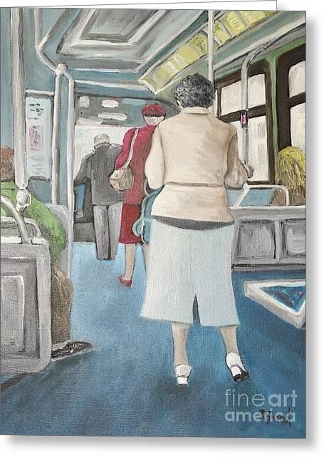 Sunday Morning Bus Stop Greeting Card