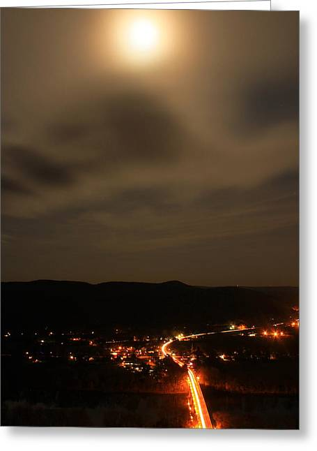 Sunderland By Moonlight From Mount Sugarloaf Greeting Card