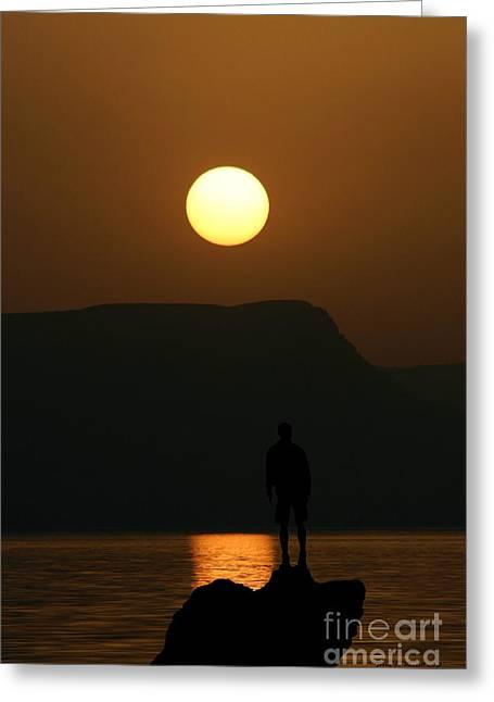 Sundown Silhouette Greeting Card by Jerry L Barrett