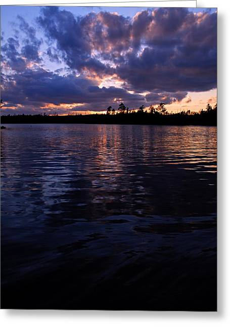 Sunet On Spoon Lake Greeting Card by Larry Ricker